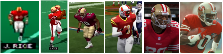 Progressively more realistic video-game portrayals of football legend Jerry Rice